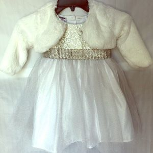 Blueberi Toddler Dress with Faux Fur Shrug